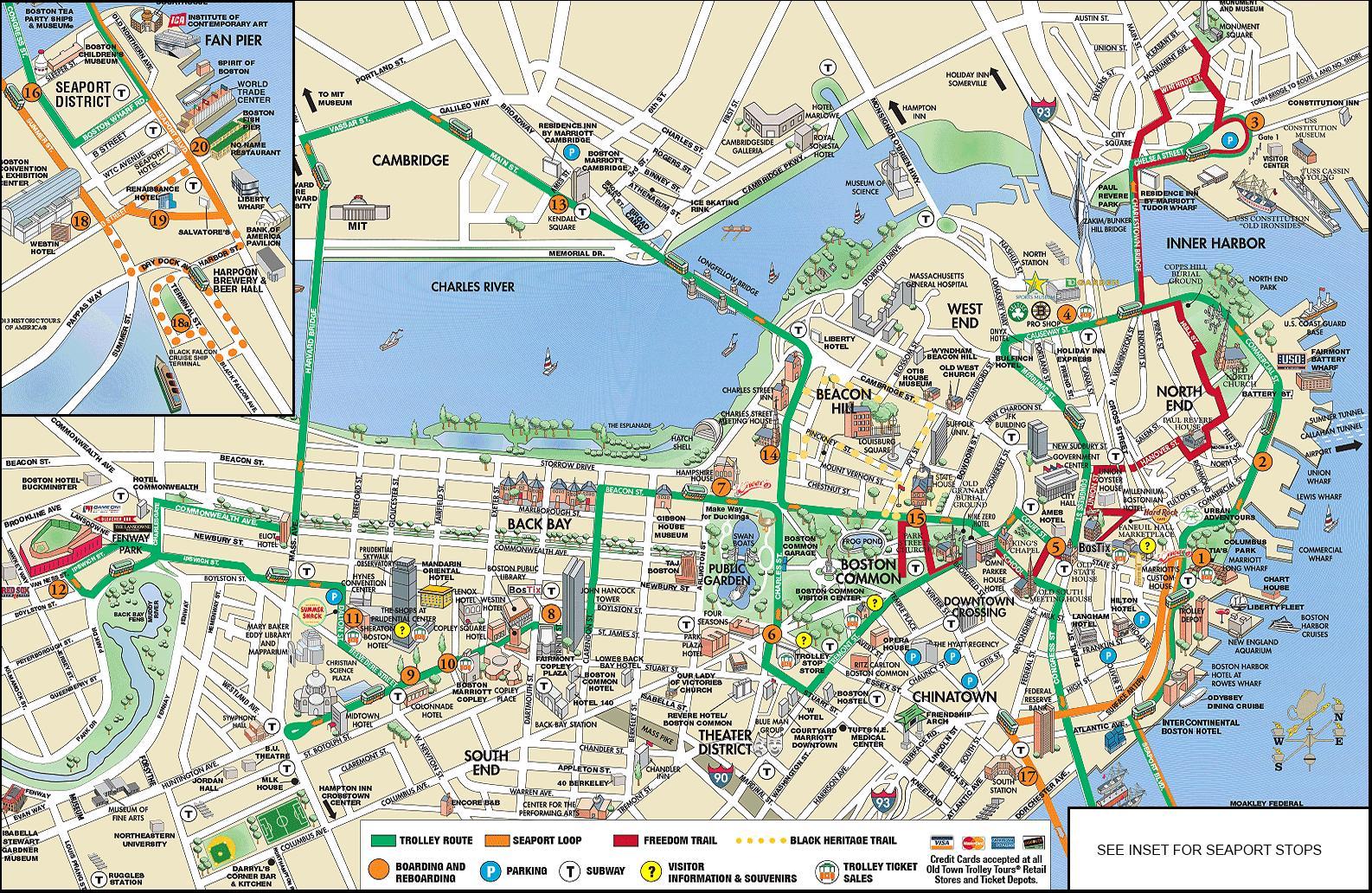 Boston Vaunun Kartta Boston Trolley Tours Kartta Yhdysvallat