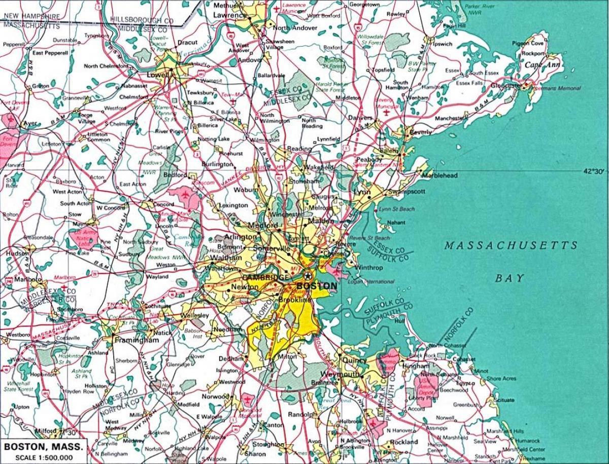 Greater Boston Kartta Kartta Suur Bostonin Alueella Yhdysvallat